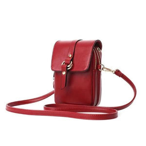 Red phone purse with 2 zipered pocket compartments