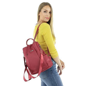 red anti theft backpack purse