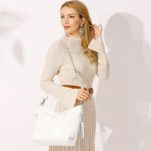 White leather large crossbody hobo bag