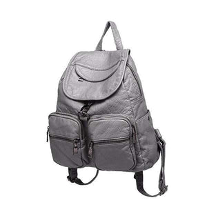 women gray soft leather backpack