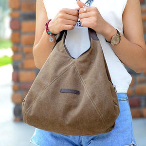 Brown canvas small women bag