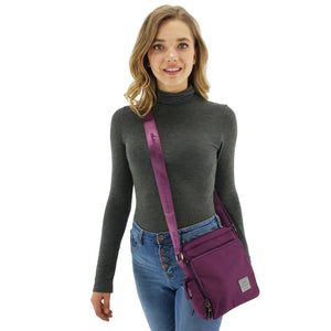 Square crossbody messenger multiple pocket nylon, Blue, Purple, Black