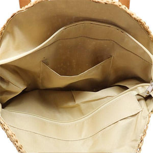 straw bag with handles with zipper compratment