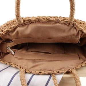 straw round bag with zipper
