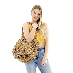 straw round cricle tote bag