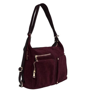Dark purple backpack purse suede leather