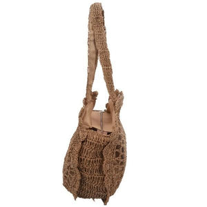 summer circle straw beach bag