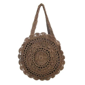 Brown tote round beach straw bag