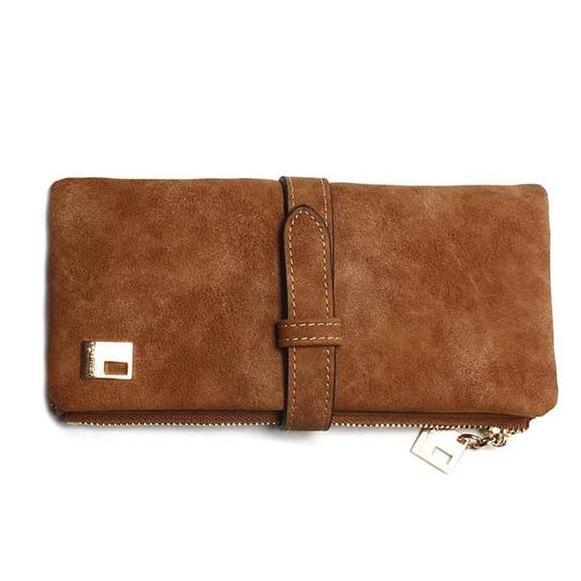 Brown suede nubuck cluth wallet for women