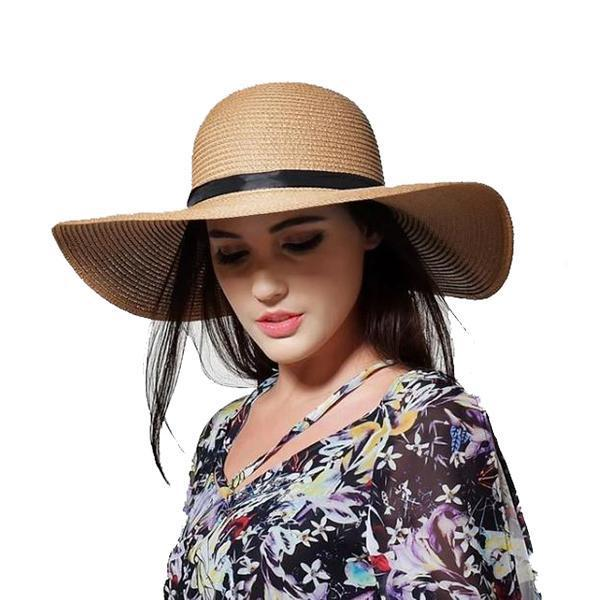 Khaki wide brim straw hat for womens