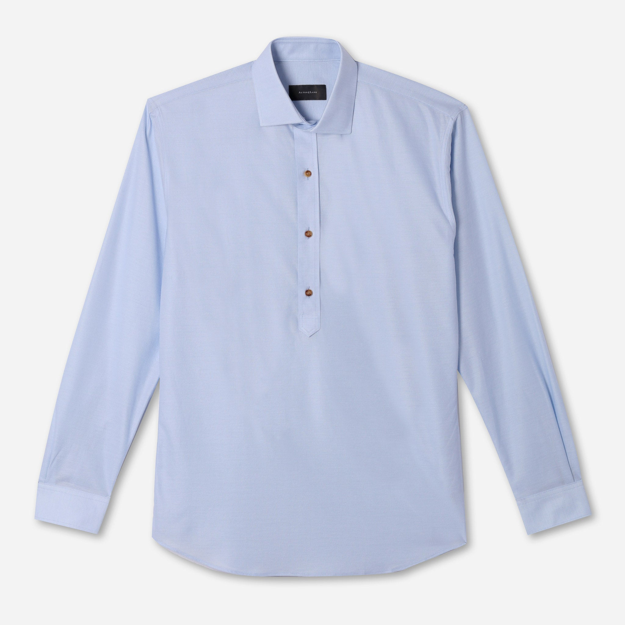 Harris Luxe Popover in Light Blue Microstripe