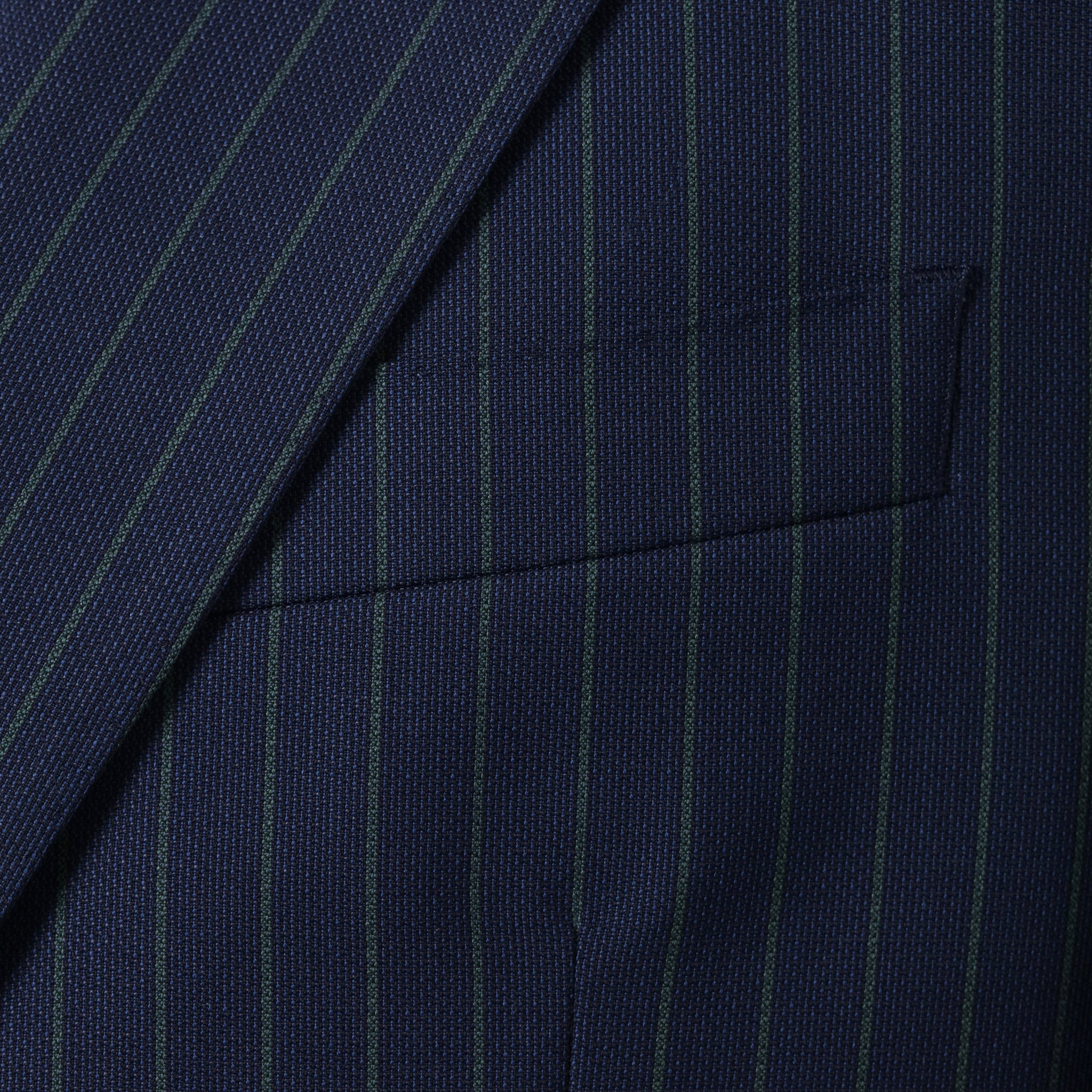 Scabal Image in Medium Blue w. Green Pin Stripe