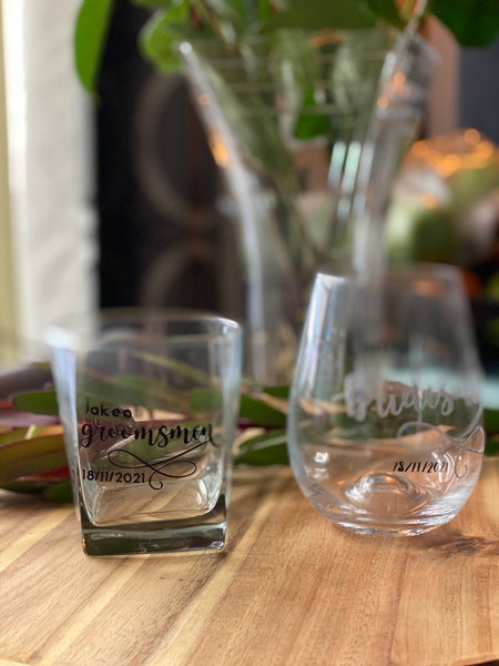 Bridal Party Glassware.