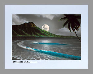 """Moon Rise Waikiki"" Spray Paint Print"