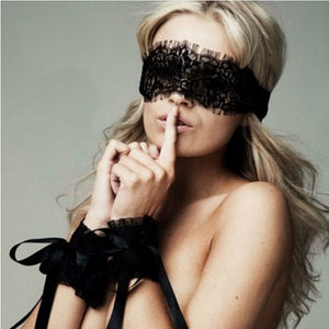 Women Lace Masks For SM Sexy Lingerie Hot  Handcuffs+ Eye Covers with Hand Wrap Sexy Eyewear Cosplay Costumes Sexy Sex toy