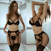 Load image into Gallery viewer, Sexy Lingerie Underwear Babydoll Open Bra Set +garter Lingerie Sexy Hot Erotic Underwear Porno Bra Sexy stockings Set