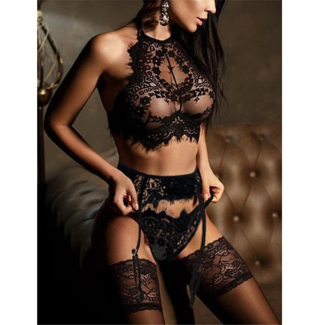 Sexy Lingerie Underwear Babydoll Open Bra Set +garter Lingerie Sexy Hot Erotic Underwear Porno Bra Sexy stockings Set