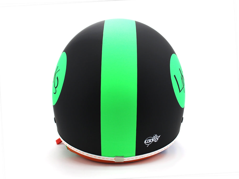 LAKE L4K3 Casco Jet Visiera Nero Opaco Green
