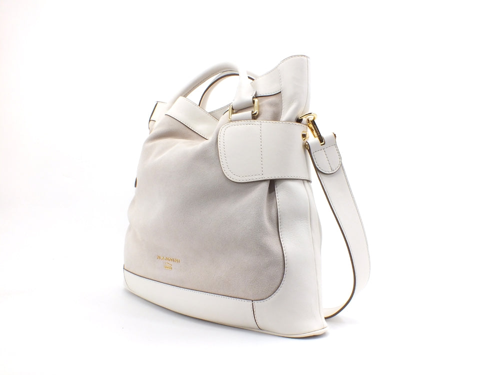 NANNINI Casual Suede Borsa Bag Pelle Off White 16148A