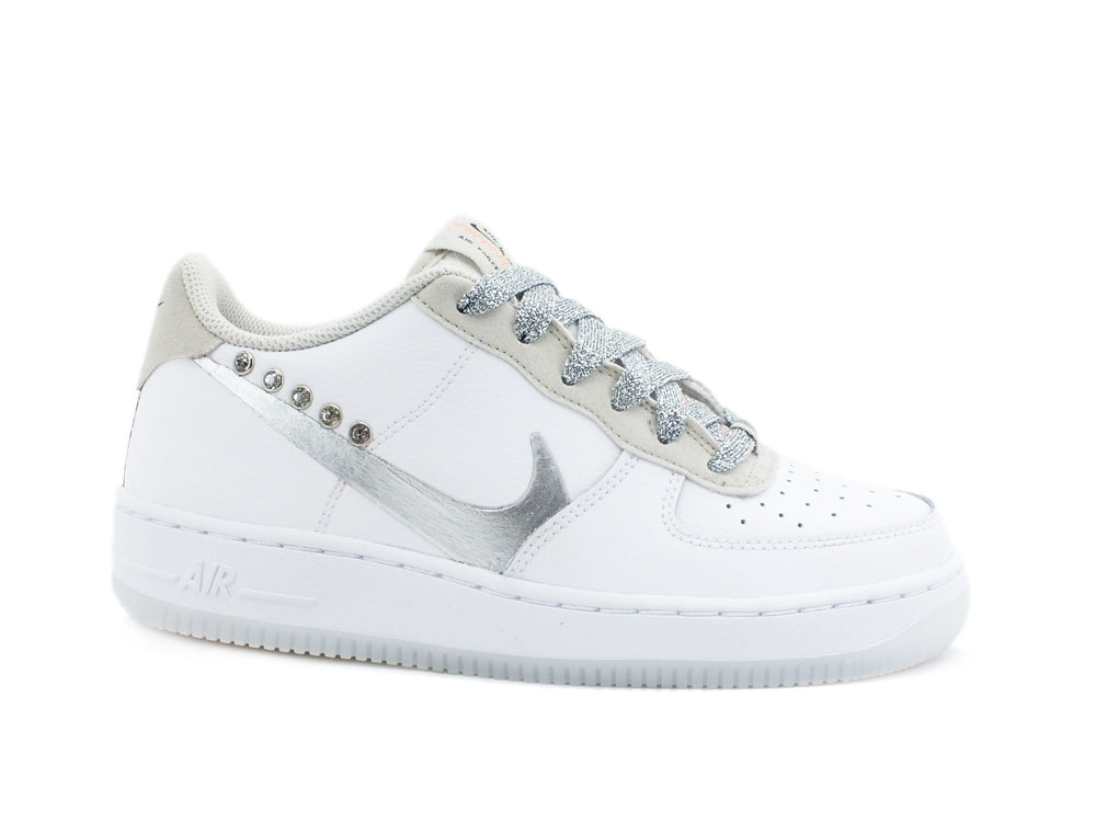 CUSTOM / NIKE Air Force 1 LV8 3(GS) Sneaker Custom White Silver CD7409 100