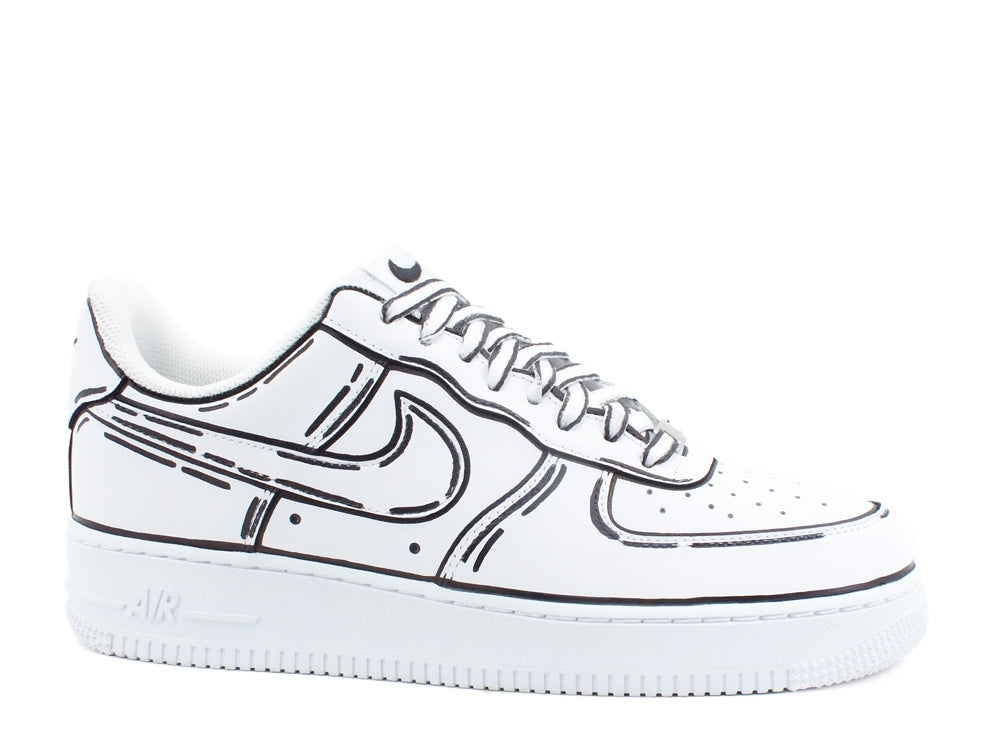 CUSTOM / NIKE Air Force 1 Sneaker AF1 Cartoon Comics White Black 315115-112