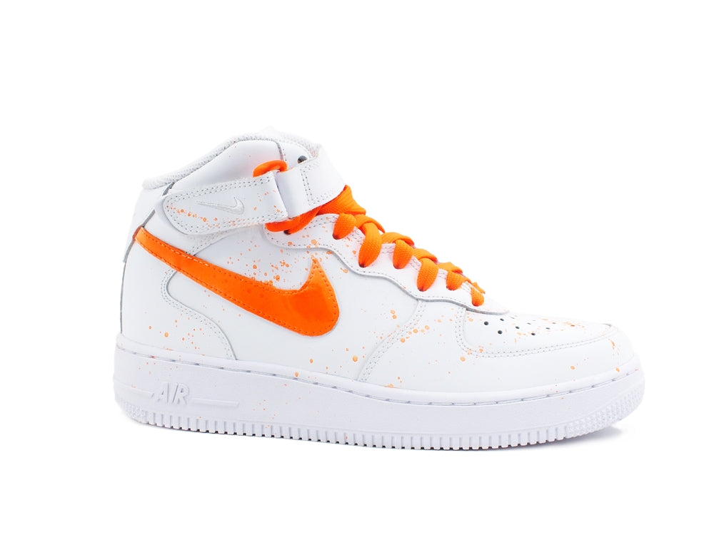 CUSTOM / NIKE Air Force 1 Mid (GS) Sneaker AF1 White Orange 314195 113