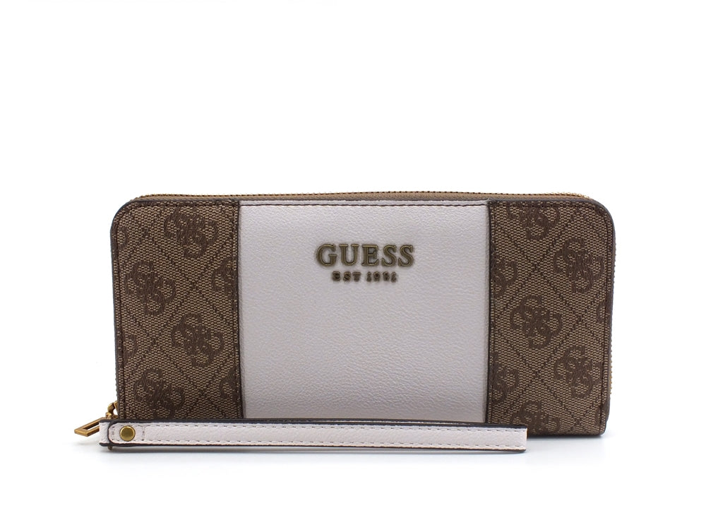 GUESS Mika SLG Zip Around Loghi Bicolor Brown SB796746