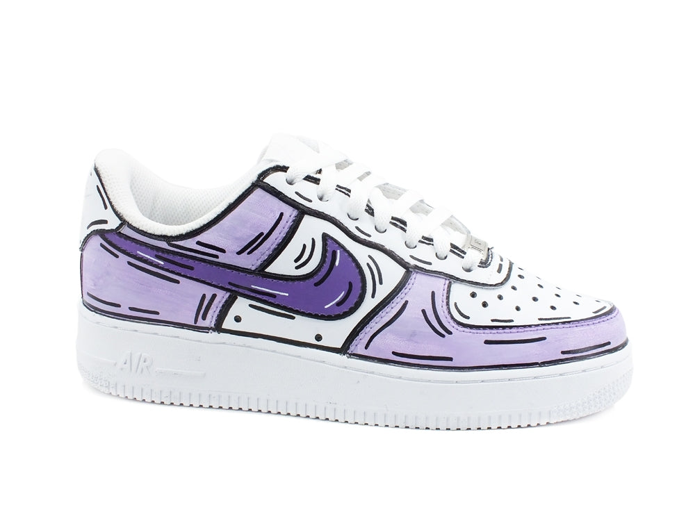 CUSTOM / NIKE Air Force 1 Sneaker AF1 Cartoon Comics White Lilac Purple 315115-112
