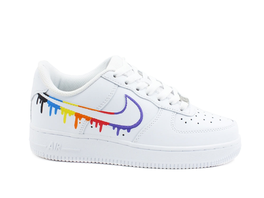 CUSTOM / NIKE Air Force 1 Sneaker AF1 Rainbow White Multicolor 315115-112