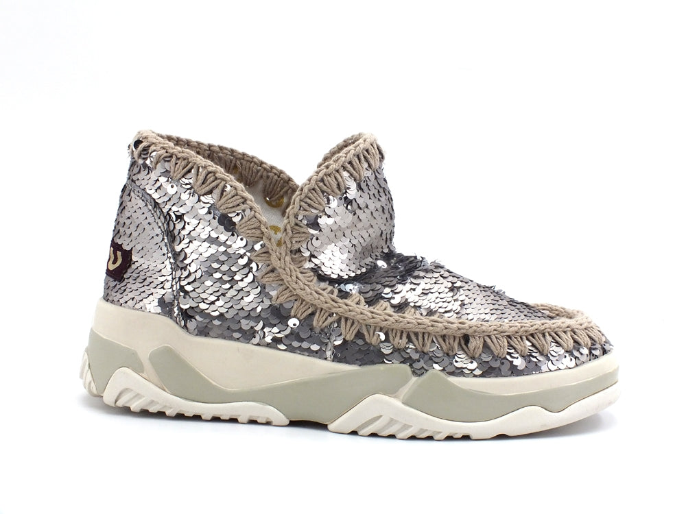 MOU Eskimo Trainer All Sequins Botte de cheville Sequins Gun Metal MU.SW201000G