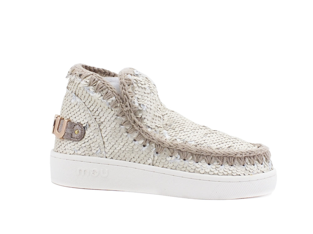 MOU Summer Eskimo Sneaker All Sequins Logo Metallic Ankle Boot Chalk MU.SW211001G
