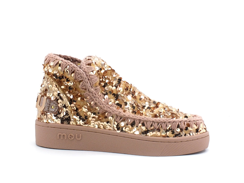 MOU Summer Eskimo Sneaker All Tone On Tone Sequins Logo Ankle Boot Rose Brown MU.SW211001G