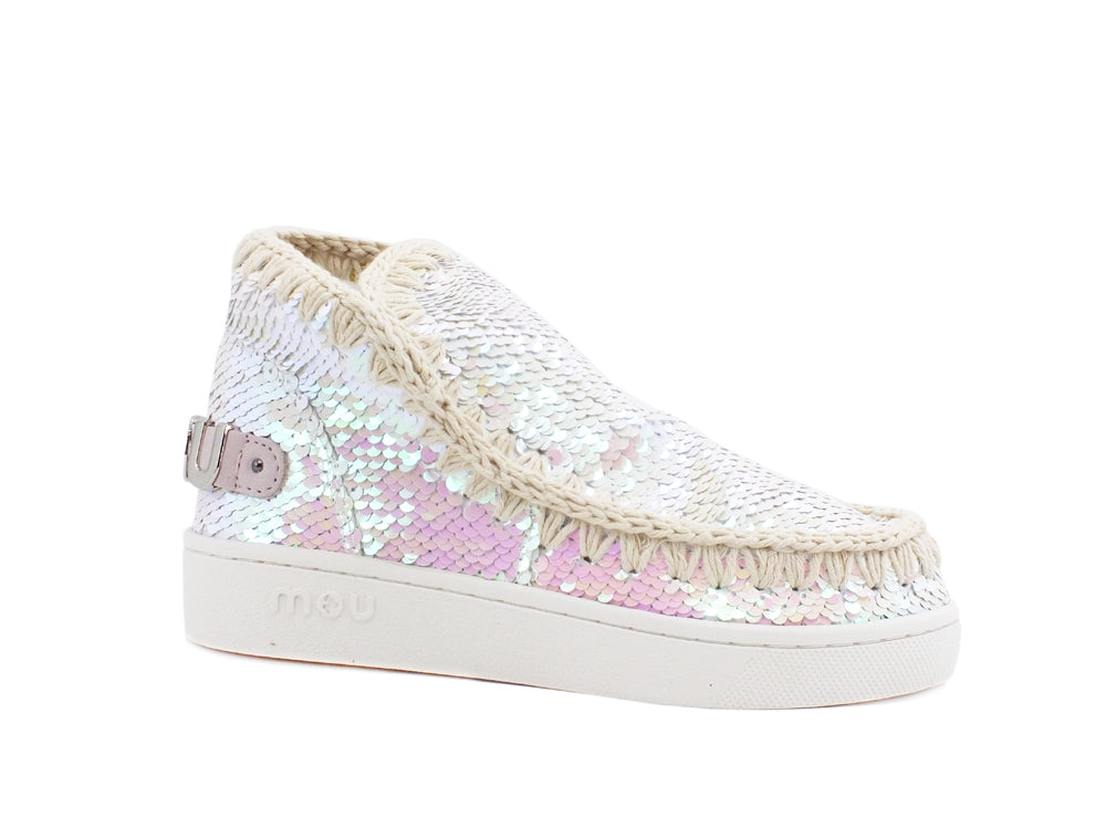 MOU Summer Eskimo Sneaker All Sequins Metallic Logo Iridescent MU.SW211001G