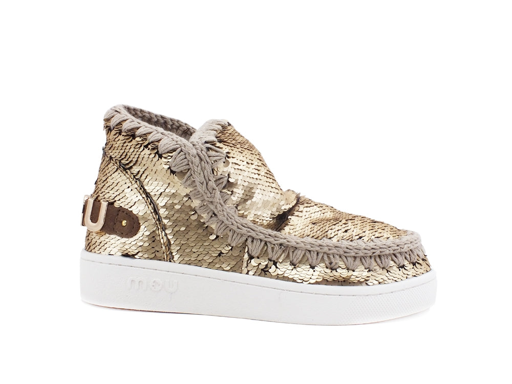 MOU Summer Eskimo Sneaker All Sequins Metallic Logo Gold Metal MU.SW211001G