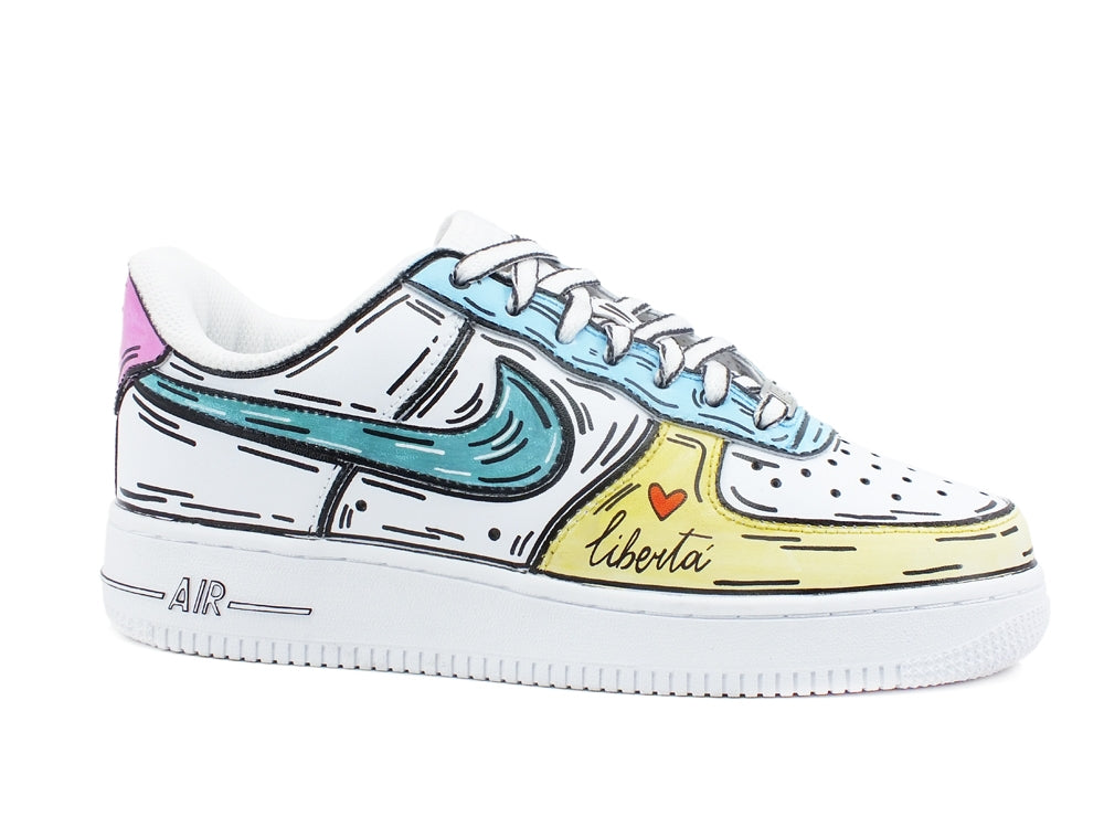 CUSTOM / NIKE Air Force 1 Sneaker AF1 Cartoon Comics White Multicolor 315115-112