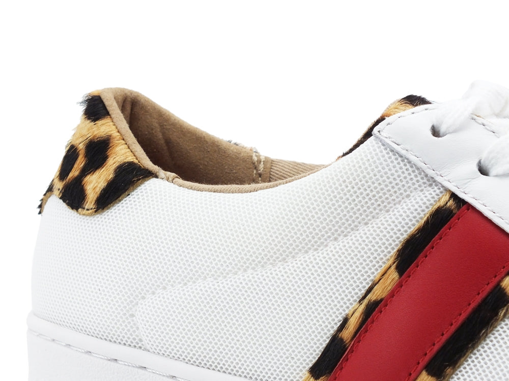 MICHAEL KORS Irving Stripe Lace Up Sneaker Animalier Optical White Natural 43S9IRFS6D