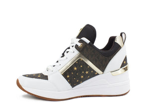 MICHEAL KORS Georgie Trainer Sneaker Zeppa Interna Star Logo Brown Multi 43R1GEFS2B