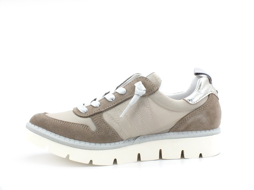 PAN CHIC Sneaker Low Cut Sneaker Donna Nylon Suede Ivory Dovegrey Light Gold P05W18021TS2