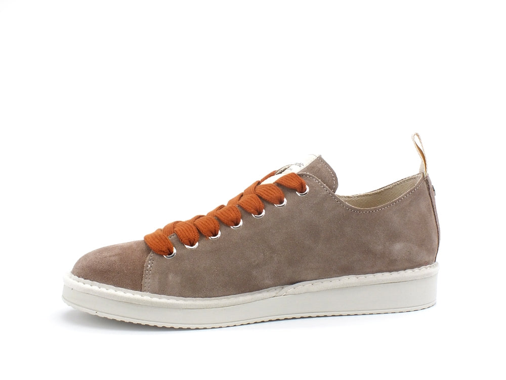 PAN CHIC Low Cut Sneaker Uomo Suede Dovegrey Burnt Orange P01M14001S8