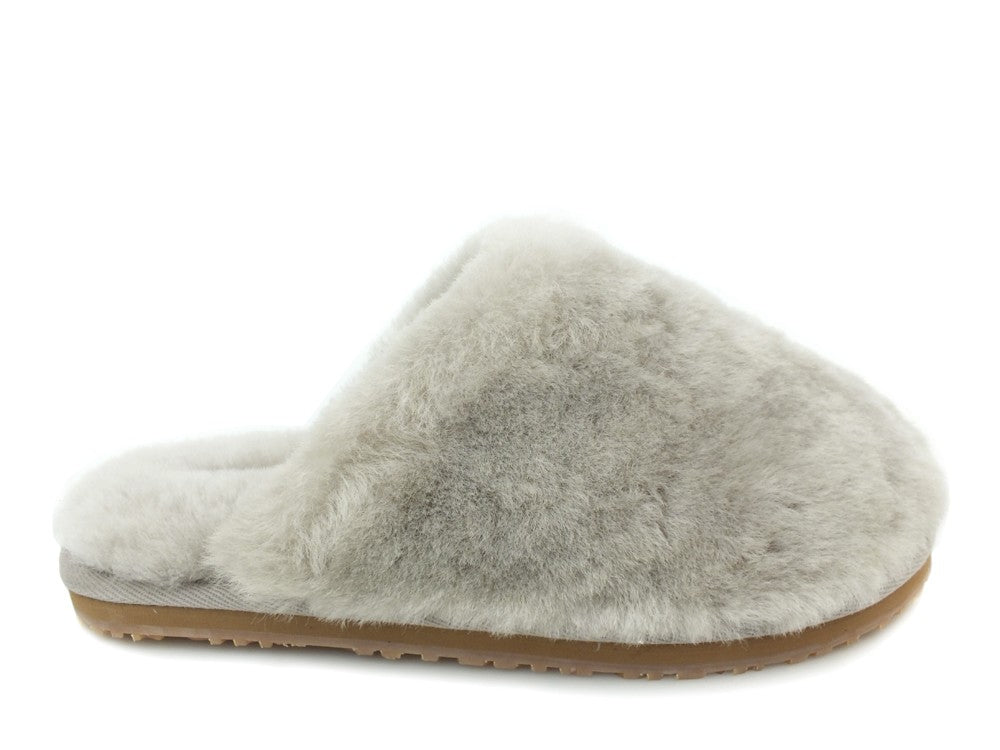MOU Closed Toe Fur Slipper Solid Color Sand
