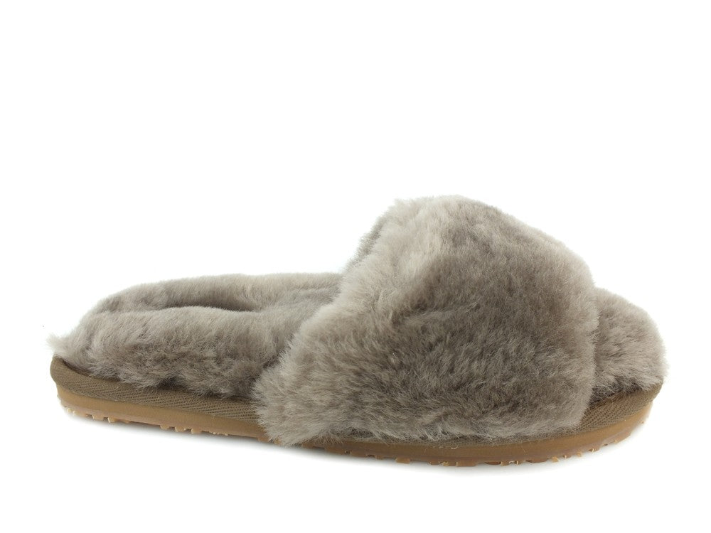 MOU Sheepskin Fur Slide Slipper Elephant Grey