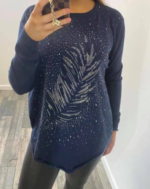 Sparkling Feather Jumper  Navy