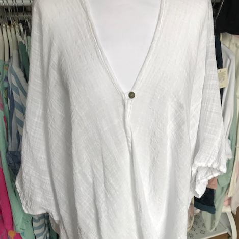 Drape Linen Top White