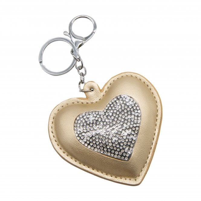 Gold Crystal Heart Key Ring