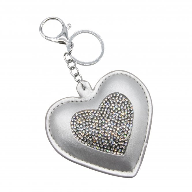 Silver Crystal Heart Key Ring