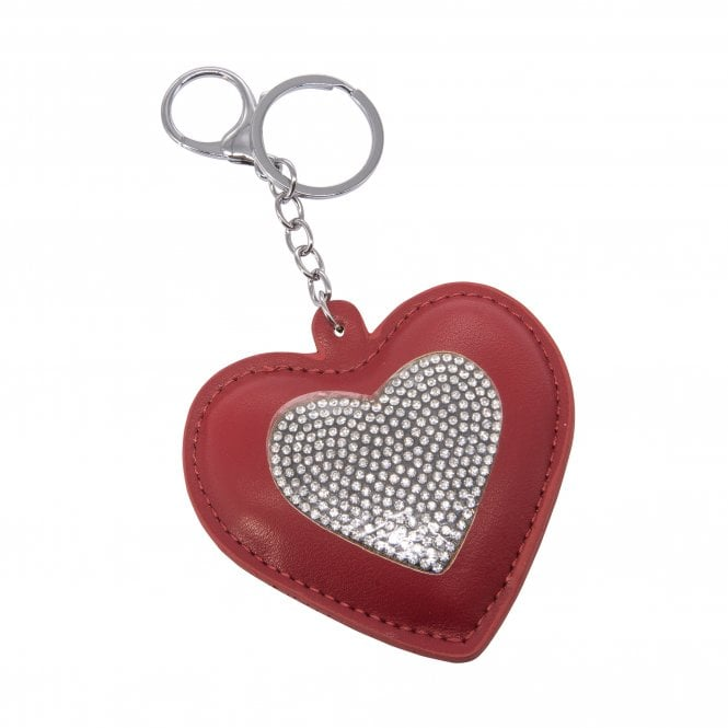 Red Crystal Heart Key Ring