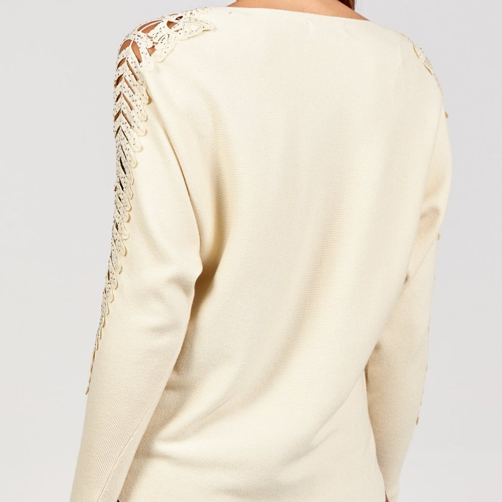 Crochet Arm Detail Jumper Cream S/M