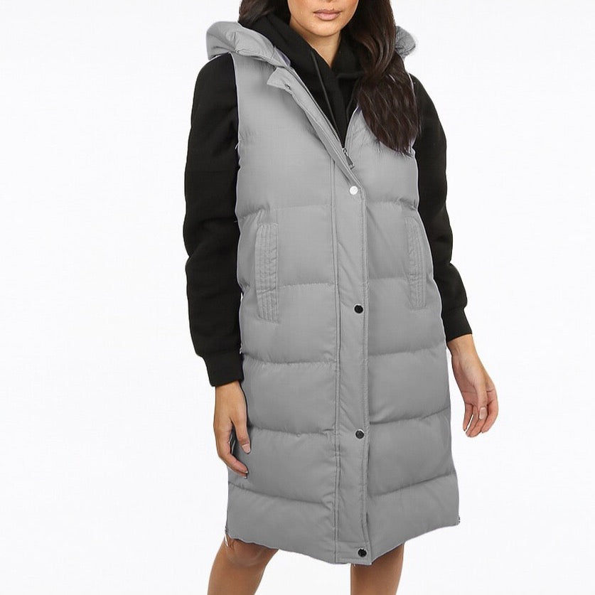 Grey Puffer Gilet With Hood