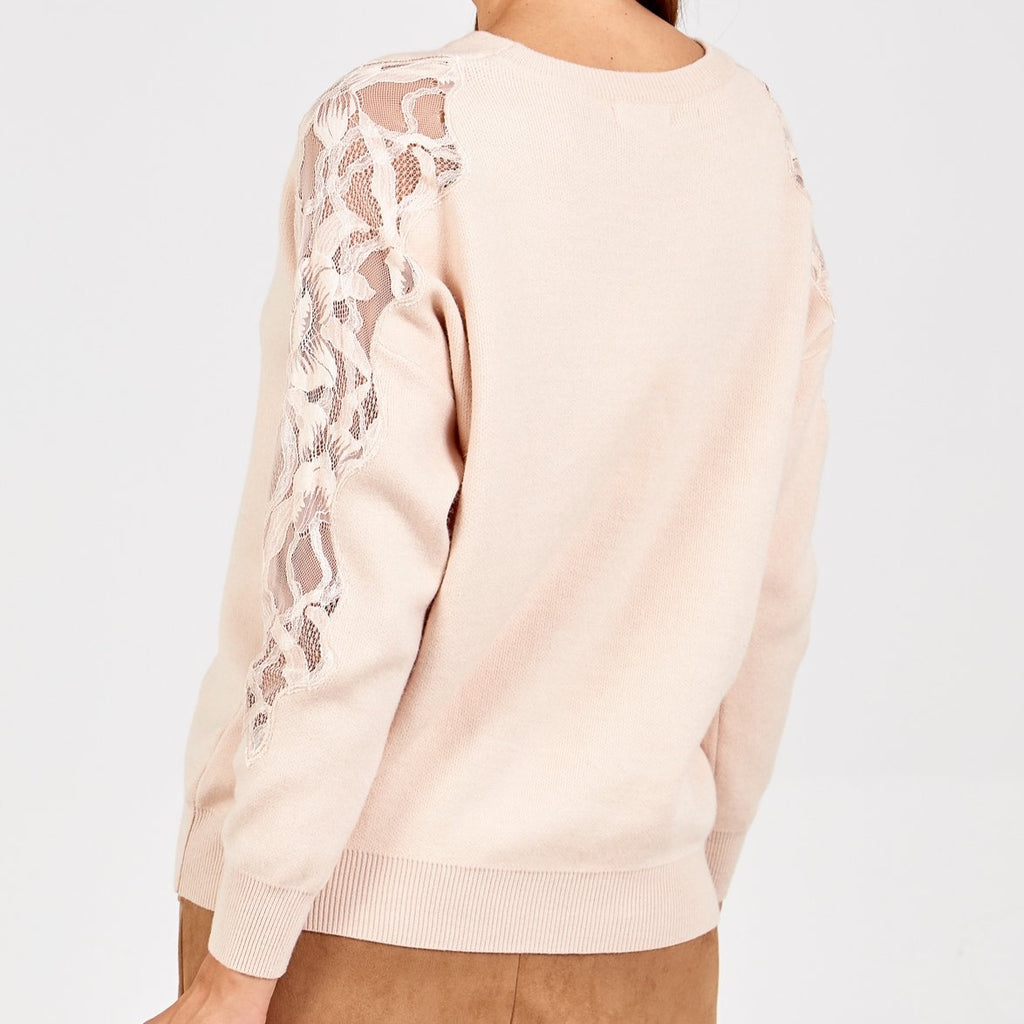 Lace sleeve Jumper cream S/M