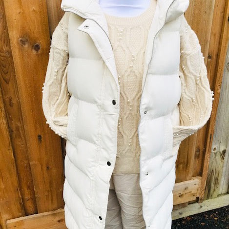 Winter White Puffer Gilet